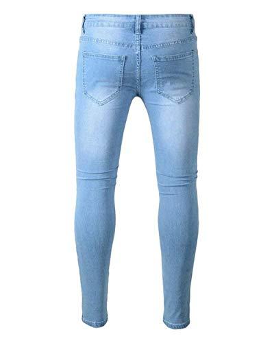Uomo Jeans In Stretch Da Distrutti Skinny Mode Straight Pantaloni Blau Ripped Casual Marca Di Lunghi Fit Bolawoo Denim Holes BpWqwEfdxq