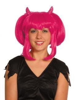 Gothic Queen Wig in Pink, Halloween Fancy Dress by Pams