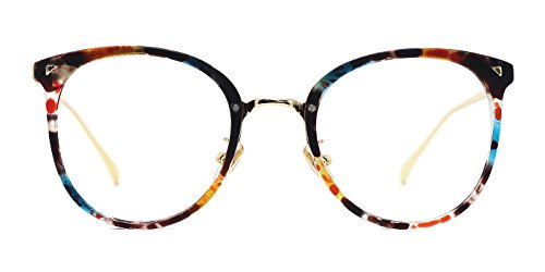 TIJN Women TR90 Retro Metal Round Glasses Frame Optical Rx-able Eyeglasses (Womens Optical Eyeglass Frame)