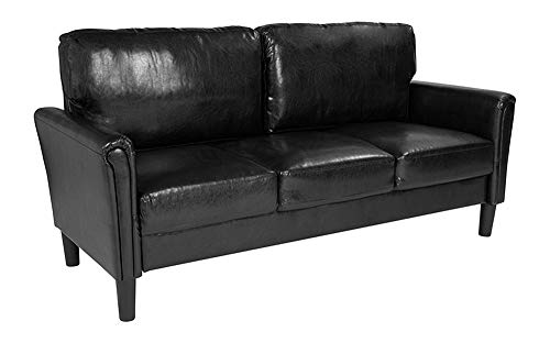 Offex Contemporary Upholstered Sofa with Loose Back Cushions, Black Leather (Reception Leather Faux)