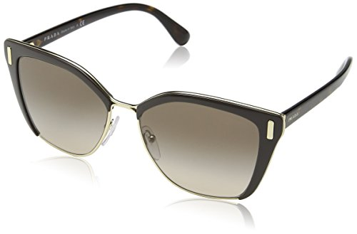 Prada PR56TS DHO3D0 Brown/Pale Gold PR56TS Square Sunglasses Lens Category 2 - Gold Prada Sunglasses