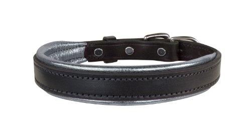 Perri's Leather Metallic Padded Leather Dog Collar, Medium, Black/Silver ()