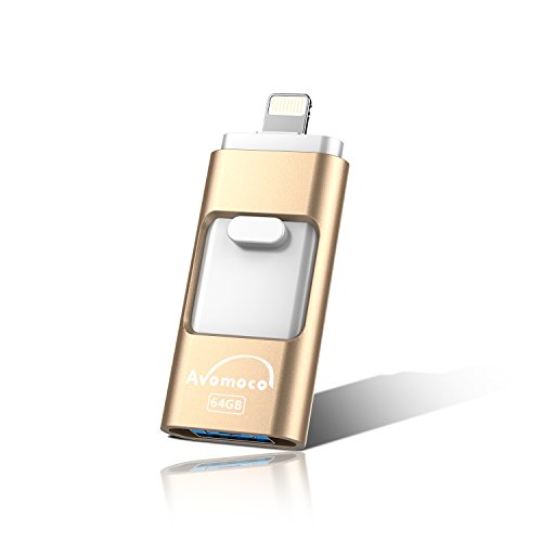 Drive Ipod - Avomoco 64GB USB 3.0 Flash Drive for iPod/iPhone/iPad/Android & Computers 100% Real Capacity 3 in 1 External Storage Memory Stick Adapter Expansion (64GB, Gold)