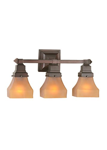 - Meyda Tiffany 50362 Bungalow Frosted Amber 3 Light Vanity Light, 20