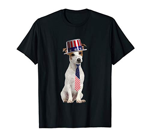 (Jack Russell 4th Of July Dog In Top Hat and Tie T-Shirt)