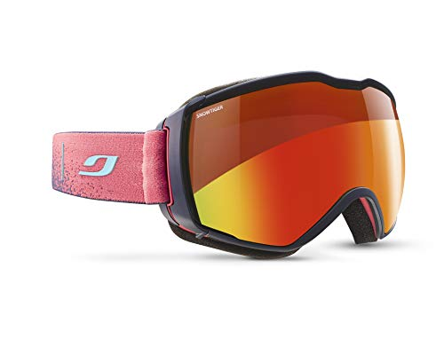 Julbo Aerospace Photochromic Snow Goggles with Ultra Venting Superflow Technology No Fogging - Snow Tiger - Dark Blue/Red (Best Ski Goggles For Whiteout Conditions)