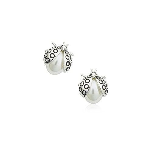 Ladybugs Stud Earrings with Swarovski Crystal Simulated White Pearls 18 ct Gold Plated for Women and Girls