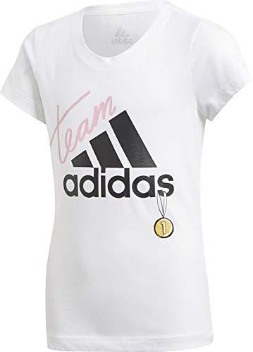 Adidas YG ID Graphic T Camiseta, Niñas, Blanco/Negro, 140 (9