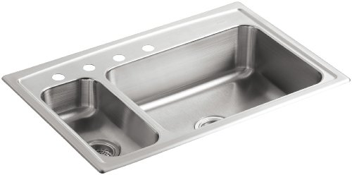- KOHLER K-3347L-4-NA Toccata High/Low Self-Rimming Kitchen Sink, Stainless Steel