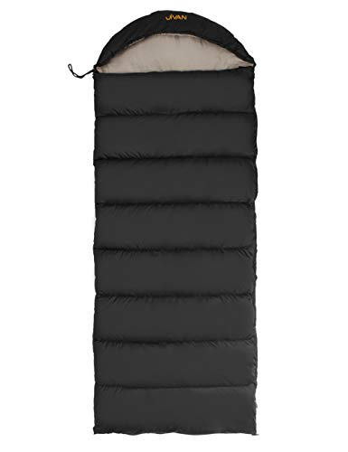 Jivan Light Weight Outdoor Camping Sleeping Bag for Adult – Envelop Mummy Hood Waterproof Sleeping Bags with YKK Zipper, Down-Like Touch Feel, Free Compression Sack, Great for 3-4 Season