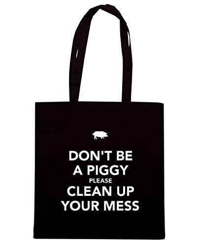 Shopper YOUR BE CLEAN MESS Shirt Nera PLEASE TKC3642 DON'T PIGGY UP Borsa Speed A TwSqE7C
