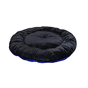 Jerry's Fully Comfortable Round Shape Velvet/Jute Polyfill Filled Cushion (for All Range Pets) (Small, Black Blue)