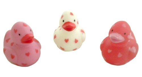 Fun Express 24 Itty Bitty Miniature Valentine/Heart Rubber Ducks/Duckies/New/Dozen/Sweetheart/Love