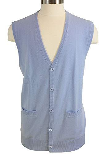 Shephe Men's Cashmere Cardigan Button Vest Sky Blue ()