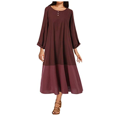 Womens Casual Long Sleeve Patchwork Color Plus Size Maxi Long Dress Night Dress Party Dress (S-5XL)