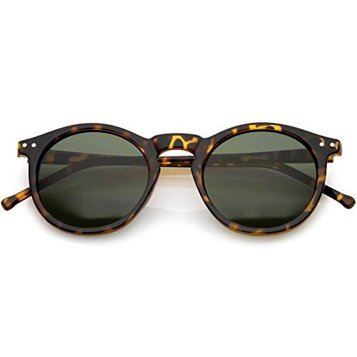 zeroUV - Vintage Retro Horn Rimmed Round Circle Sunglasses with P3 Keyhole Bridge (Tortoise/Green)