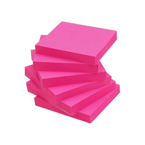 (Early Buy Pop Up Sticky Notes 3x3 Refills Self-Stick Notes 6 Pads, Solid Color, 100 Sheets/Pad (Rose Red))