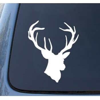 Amazoncom Deer W Antlers Looking Forward White Hunting Window - Rear window hunting decals for trucksamazoncom truck suv whitetail deer hunting rear window graphic