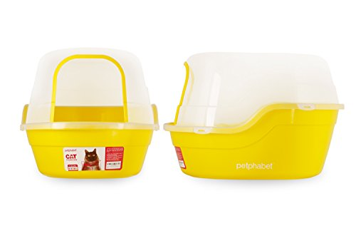 Petphabet-Jumbo-Hooded-Cat-Litter-Box-Extra-Large-Yellow