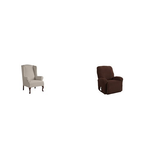 Serta 1 Piece Reversible Stretch Suede T Wingback Chair Slipcover, Brown/Ivory and Serta 4 Piece Stretch Grid Recliner Slipcover, Chocolate by