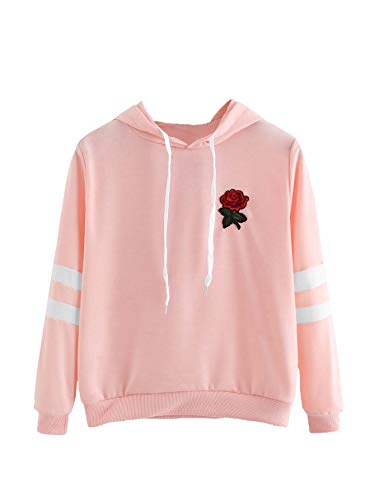 DIDK Women's Rose Patched Stripe Sleeve Drawstring Hoodie Sweatshirt Pink XL