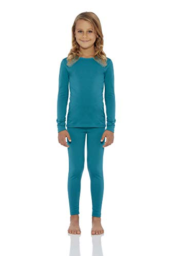 (Rocky Girl's Smooth Knit Thermal Underwear 2PC Set Long John Top and Bottom Pajamas Teal, M)