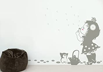 Middle Grey PopDecors A Girl Blows Away Dandelions - Beautiful Tree Wall Decals for Kids Rooms Teen Girls Boys Wallpaper Murals Sticker Wall Stickers Nursery Decor Nursery Decals PT-0122-MidGrey Pop Decors Corp