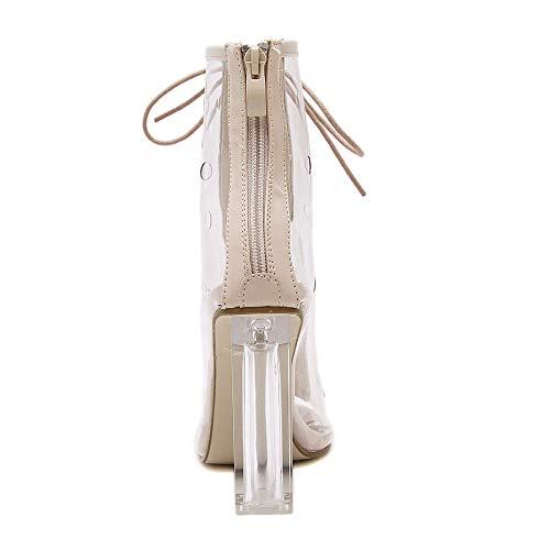 Mkhdd Cordones Bloques Tacón Con Pvc Botas Transparentes Beige Sandalias Gladiador De Alto Mujer Para Botines r7zpSrwq