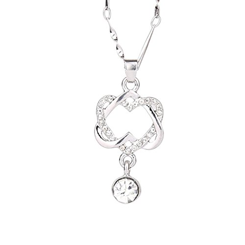 TOPUNDER Fashion Women Double Heart Pendant Necklace Chain Jewelry by