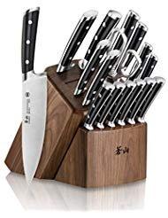 Cangshan S Series 1024043 German Steel Forged 17-Piece Knife Block Set, Walnut