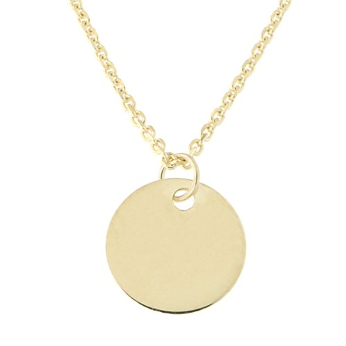 14k Yellow Gold Small Engravable Disc Pendant Necklace, 16