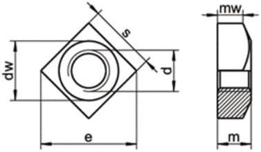 10 Stk DIN 557 A2 M 16 Vierkantmutter EDELSTAHL A2 V2A