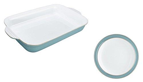 Denby Azure Large Oblong Dish and Tea Plate, Set of 2 Azure Tea Plate