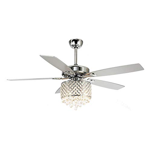 - Parrot Uncle Remote Control 52 Inch Ceiling Fan With Light Reversible 5 Blades Crystal Chandelier Fan 4 Lights, Edison Bulb, Not Included, Chrome