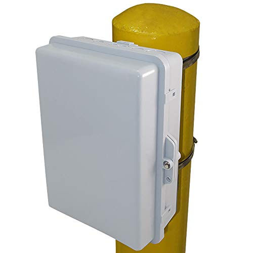 Altelix Pole Mount NEMA Enclosure 14x11x5 (12 x 8 x 4 Inside Space) Polycarbonate + ABS Weatherproof Outdoor NEMA Box
