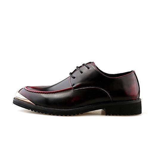 Oxford Leather Hombres Sólido Formales Zapatos Cómodos Negocios Vestir Grueso En De Relieve Punta Cuero Rojo Los Business Color Talón Classic Bangxiu Pu fYC8wq