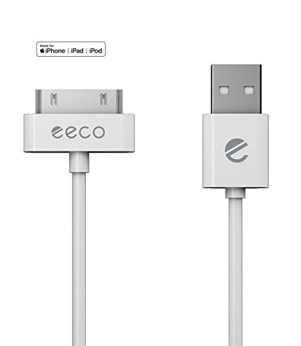 eeco Apple MFi Certified 3ft iPhone 4/4s Charger Cable, Compatible with iPhone 3G/3GS, iPad 1/2/3, iPod Touch 1/2/3/4, iPod 5th Gen, iPod Classic, iPod Nano 1/2/3/4/5/6 (White) 30-Pin-to-USB