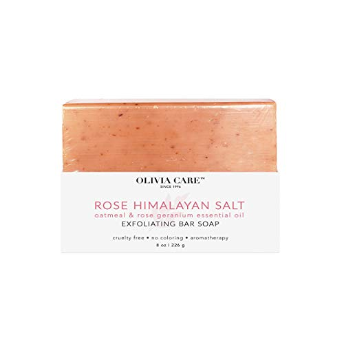 - OLIVIA CARE Rose Himalayan Bar Soap for whole Body & all Skin types. The best Anti-bacterial cleanser for hands! All-Natural Beauty soap for Showers that gently exfoliates with Rose Oil and Oatmeal!