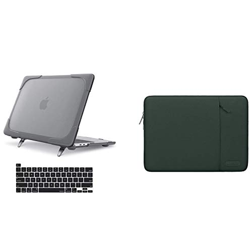 MOSISO Heavy Duty Plastic Hard Case with Fold Kickstand & Vertical Laptop Sleeve & Keyboard Cover Compatible with MacBook Pro 13 inch 2020 Release A2338 M1 A2289 A2251 with Touch Bar