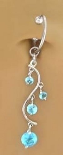 Fake Belly Navel Non Clip on Piercing Aqua Lt Blue Unique Vine Dangle Ring