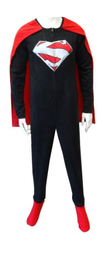 Superman Logo Black and Red Onesie Footie Pajama with Cape | M -