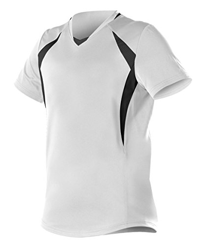 Alleson Ahtletic Women's Plaited Knit Fast Pitch Softball Jersey, White/Black, Medium