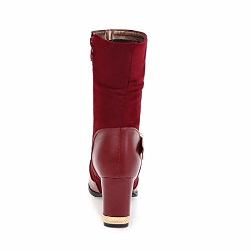 RFF-Women's Shoes Large size shoes buckle in winter boots with thick high-heeled boots gules KPBBvH
