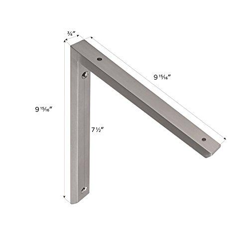 MAYKKE Morrison 10'' Shelf Bracket (Set of 2) Modern Stainless Steel Wall Mount Metal Ledge Hardware for Heavy Duty Storage, Brace Support 2 Sizes, 3 Colors Brushed Stainless Steel, OYA1110202 by Maykke (Image #3)
