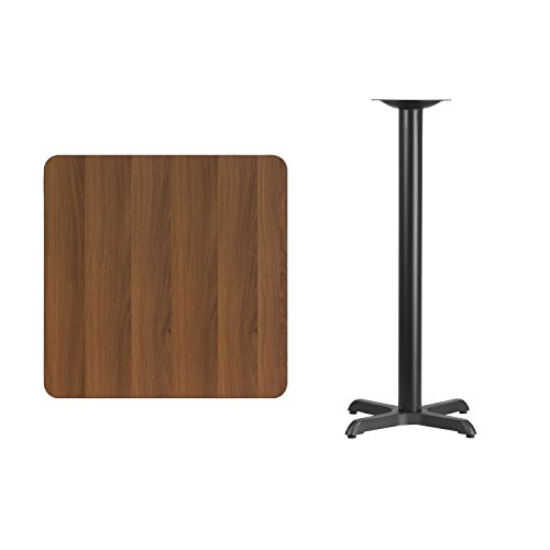 Flash Furniture 30'' Square Walnut Laminate Table Top with 22'' x 22'' Bar Height Table Base by Flash Furniture