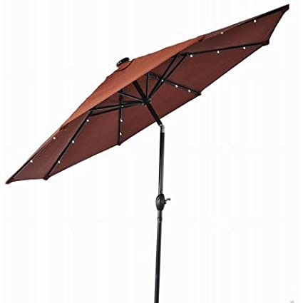 Patio Umbrella, 9 Foot Round With Solar Lighting, 3 Position Tilt And Crank