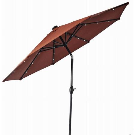 Patio Umbrella, 9 Foot Round with Solar Lighting, 3-position Tilt and Crank Open, Orange Brick