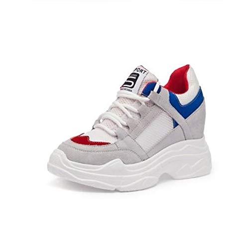 Punta Comfort da ZHZNVX Suede piatto Blu donna Sneakers Rosso Nappa Scarpe Blue Primavera Cuoio Tacco Estate chiusa 7xx1g