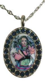 Black Tarina Necklace Tarantino (Tarina Tarantino Queen Alice Small Crystal Framed Medallion Necklace (Black))