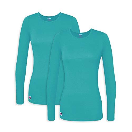 Sivvan 2 Pack Women's Comfort Long Sleeve T-Shirt/Underscrub Tee - S8500-2 - Aquamarine - XS ()